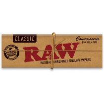 RAW Classic 1 1/4 Connoisseur Rolling Papers with Tips x 24