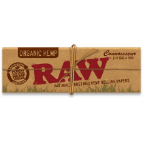 RAW Organic Hemp Connoisseur 1 1/4 Width Rolling Papers with Tips x 24