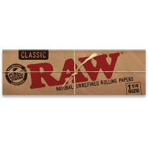 RAW 64 Hojas Classic 1 1/4 Width Rolling Papers - Double Pack x 24