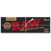 RAW Black 1 1/4 Rolling Papers x 24