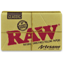 RAW Organic Hemp Artesano 1 1/4 Width Rolling Papers w/ Tips and Tray x 15